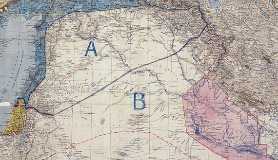 Sykes Picot ageement 1916. Map sent from Cambon to Sir Edward Grey